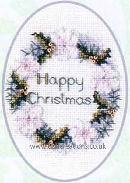 Golden Wreath Christmas Card Cross Stitch Kit